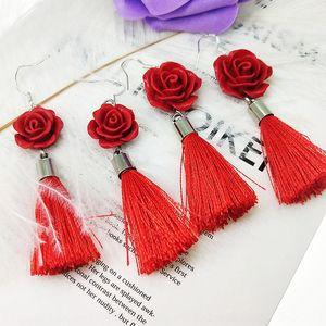moda gioielli CK8R3 Yucheng Zhu nuova rosa giapponese e orecchini della lega delle donne della nappa ed orecchini coreana