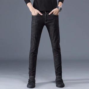 Jeans da uomo Pantaloni uomo solido Pantaloni Black Grigio Blu Casual Denim Denim Slim graffiato pantaloni lunghi cotone 2021 inverno maschio