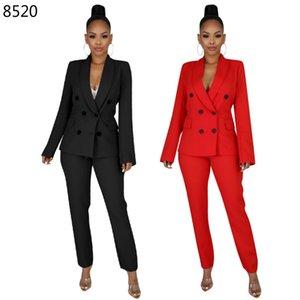 Work Pant Suits 2 Piece Set Elegant Formal Office Casual Solid Color Business Interview Blazer Pencil Pant Women Suit