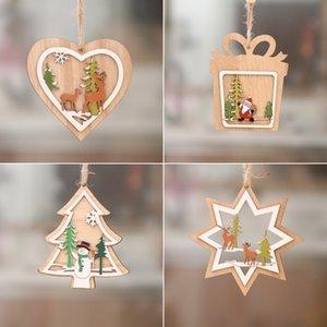 enfeite de árvore de Natal Novo decorações de Natal Boneco de neve Papai Noel alce pequeno pingente de Natal com pequena T500277 presente pendant woodiness
