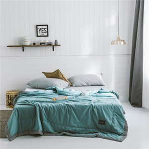 Solid Colors Quilted Air Conditioned Duvet Thin Washable Cotton Blanket Bedspread Travel Nap Bed Quilts Summer Quilt for Adults