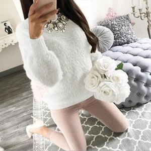 Autumn Knitted Sweater Women Solid Plush Sweater Tops Pullover Basic Crop Women Elegant Casual Thick Warm Hairy Sweaters