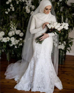 Modest Muslim Mermaid Wedding Dresses Long Sleeves High Neck Appliqued Lace Bridal Gowns Gorgeous gelinlik in Dubai Islamic Bride Dress