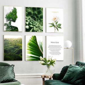 Абстрактные девушки Green Tree Суккуленты завод Wall Art Холст Картина скандинавские Плакаты и печать Стена Картины для гостиной Decor Room