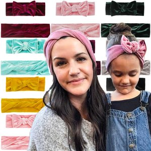 Multi Colors Mother Baby Bow headbands Velvet kids Hair accessories fashion lovely bow kids baby Parent hairband
