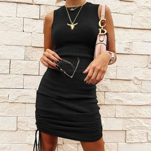 Hot Sale Ribbed Mini Dress Women Drawstring Sexy Sleeveless O Neck Vintage Bodycon Party Club Knitted Summer Dress