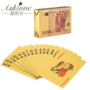 Gold Foil Poker Playing cards EU Plastic Poker EURO Golden Playing Cards Waterproof For Board Game Party Gifts