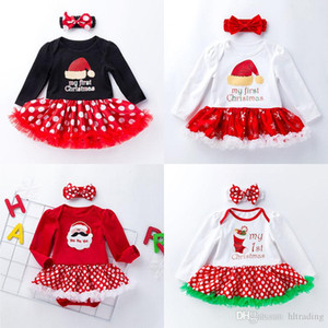 21 Styles Christmas Children Clothing Set Santa Claus Letter Dot Print Dress+headband 2pcs set Baby Jumpsuit Xmas Kid Romper Dress