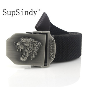 Supsindy Men's Canvas Tiger Metal Buckle Military Belt Tactical Belts for Male Top Quality Men Strap Army Green 120cm