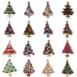 Rhinestone Crystal Christmas Tree Brooches Women Trendy Exquisite Pins Gift Sweater Dress Accessories Christmas Jewelry