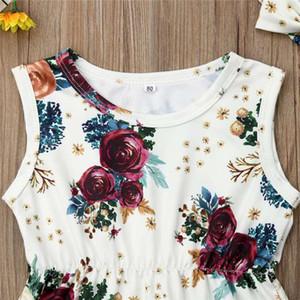 Nouveau-né Enfants Bébés filles Vêtements Floral Jumpsuit Romper Salopette + Bandeau Tenues costume doux et confortable fille