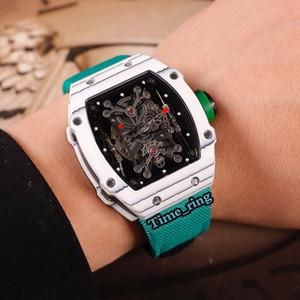Топ-версия RM27-01 Скелет набора NTPT углеродного волокна Корпус Автоматическое механическое движение RM27-01 Мужские часы Зеленый нейлон ремешок Спортивные часы