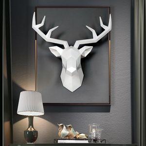 3D Deer Head Sculpture Decoração Acessórios Geometric Deer Head escultura abstrata da parede da sala Decor Estátua da cabeça dos cervos Resin
