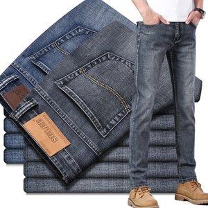 2020 Sulee Marke Europäische amerikanische Stretch-Mann-Jeans Luxuxmänner Denim-Hose Slim Gerader Deep Blue