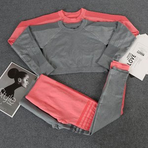 Womens Yoga 2pcs Suits Seamless Sportwear Hollow Out Fitness sports Gymshark Two Piece Set Workout shirt long sleeve Leggings woman runner