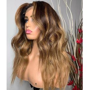 Pelucas del cabello humano del frente del encaje ondulado de Ombre con el pelo del bebé 360 Frontal Honey Brown Silkess Silk Top Full Lace Wigs para las mujeres