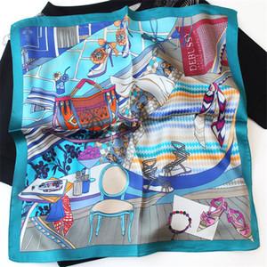 POBING 100% reine Seide Schal Frauen-Modedesigner Foulards Kleiner Kopf Handkerchief Großhandel Foulards Hijab Wraps 53x53cm