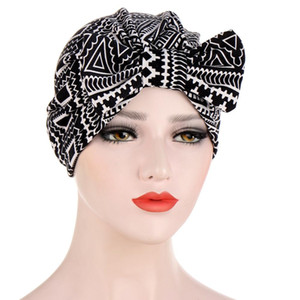 Muslim Print Bonnet Womens Big Bowknot Stretch Hijab Turban Hat Scarf Headwear Cap Head Wrap Chemo Beanies Bows Hair Accessories