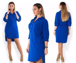Plus Size Kleider für Frauen Revers-Ansatz Normallack-Hemd Kleider Short Sleeve Split lose Frauen Kleider