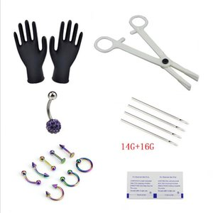 18pcs set Naval Needles Kit White Crystal Belly Nipple Lip Nose Disposable Body Piercing Jewelry Tool Sets Piercing Jewelry