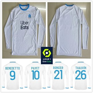 2020 Olympique de OM Marseille Long Sleeve Soccer Jerseys 9 BENEDETTO L.GUSTAVO 10 PAYET 26 THAUVIN KAMARA Custom 2021 Home Football Shirt