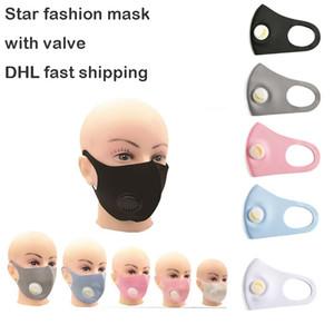 Auf Lager! Unisex-Gesichtsmaske mit Atemventil Star Fashion Outdoor-Aktivitäten Staub Radfahren Schutzmasken Waschbar wiederverwendbare Masken Maske