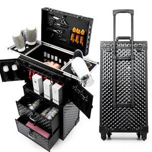 Frauen mit großer Kapazität Trolley Kosmetiktasche Rollen-Gepäck Tasche, Nägel Make-up-Toolbox, Multi-Layer-Schönheit Tattoo Trolley-Koffer