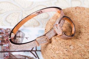 jewelry leather head buckle bracelet Simple classic leather head set diamond bracelet star style fashion jewelry h bracelet bangle