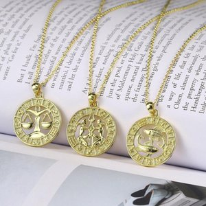 MxGxFam Twelve constellations Pendant Jewelry For Unisex 14 k Light Gold Color with 45cm Chain.