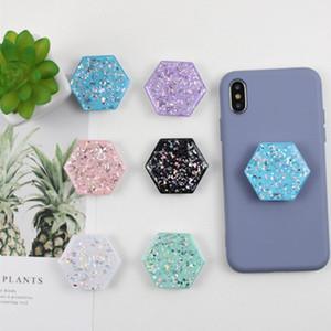 Nouveau hexagone Glitter Epoxy Colle Téléphone mobile Pliant Support de téléphone Support Ballon de support