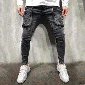 Fly Herren Designer Jeans-beiläufige Männer Kleidung Loch Panelled Herren Designer-Jeans große Taschen Panelled Zipper