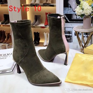 Fashion Stretch wedding shoes for bride Breathable Elastic Slim work boots With Thin heel 8.5 cm women Pointed or ankle boots high quality