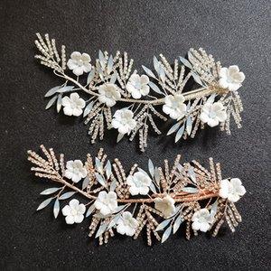 SLBRIDAL main strass cristal Ceram fleur cheveux de mariée clip Barrettes mariage hairgrips Accessoires cheveux Bijoux femmes