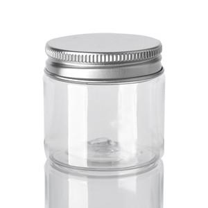 60мл пластиковые баночки Прозрачный Канистры ПЭТ Пластиковые хранения Бункеры Круглые бутылки с алюминиевым Люки Пустой Косметические Jar Контейнер GGA3644-8