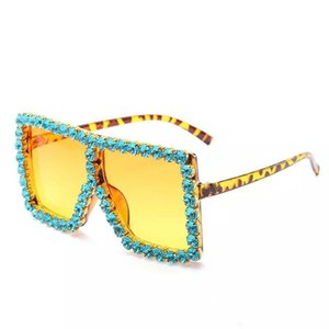 여성 선글라스 스퀘어 럭셔리 아크릴 라인 스톤 선글라스 대형 다채로운 다이아몬드 그늘 큰 태양 안경