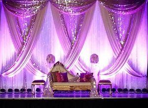 10ft x 20ft White Wedding Backdrop with Shiny Gold Swag Wedding drape and curtain decoration