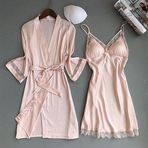 Herbst-Frauen Nightgown Sets 2 Stück Negligée Bademantel mit Kasten-Auflage Female Satin Kimono Badekleid Nachtwäsche Rosa Roben Anzug Y200429