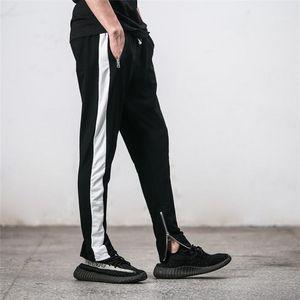 Fashion Solid Color Loose Male Casual Zipper Beam Pants Mens Single Stripe Retro Sports Pants
