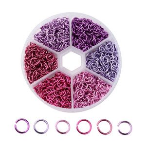 6 mm Couleur mixte Open Jump anneaux en aluminium Connecteurs de fil Lien boucle de Split pour le bricolage Résultats de bijoux Dia 0.8mm Environ 1080 pièces / boîte