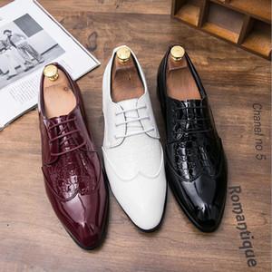 Neue britische Bräutigam Schuhe 2021 Beleg der Männer auf Split Leder Spitzschuh-Männer kleiden Schuhe Geschäft Hochzeit Oxfords Elegante Schuhe für Männer AL6978