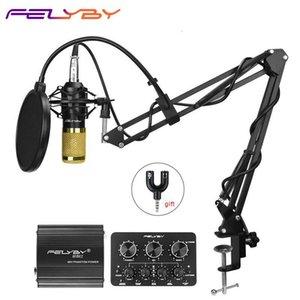 Felyby Bm 800 Profissão Microfone Condensador Para Computer Karaoke Video Studio de Gravação Mic Filtro Phantom Power Sound Card T191128