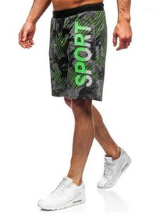 Knee Length Shorts Fashion Letter Printed Relaxed Shorts Summer Casual Elastic Waist Drawstring Pants Men Camouflage