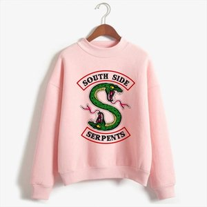 Riverdale Sweatshirts Women Pink South Side Serpents Hoodies Pullover Long Sleeve Korean Sweatshirt Casual Turtleneck Clothes