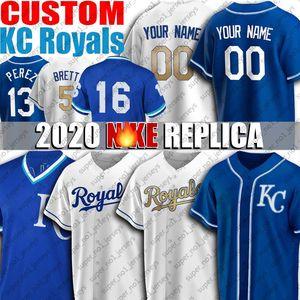 Özel Royals 15 Whit Merrifield Formalar George Brett Jersey Danny Duffy Bo Jackson Formalar Hunter Dozer Beyzbol Forması