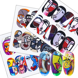 Nail 1pc abstracta de la cara del agua etiquetas engomadas de la belleza colorida muchachas frescas deslizante con Encanto Año Nuevo Decoración LYSTZ906-921