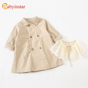 Babyinstar New Girls Trench Coat Spring&Autumn Lovely Lace Collar Jacket Children Clothes Girl Long Sleeve Trench Coat Jacket