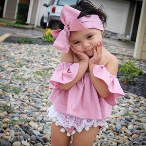 Criança Crianças Baby Girl rosa Alças T-shirt Ruffle Tops roupas de verão + arco handband Outfits moda July26