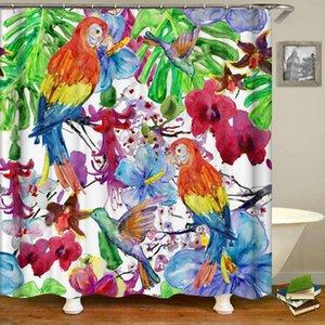 Fleur d'oiseaux feuilles des plantes rideau de douche 3d imprimé bain rideaux imperméable salle de bains en tissu lavable rideaux colorés avec des crochets