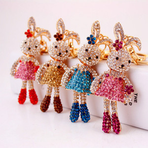 Wholesale Popular 2020 Creative cute cartoon diamond long leg rabbit car key chain lady bag pendant accessories keyrings small gift