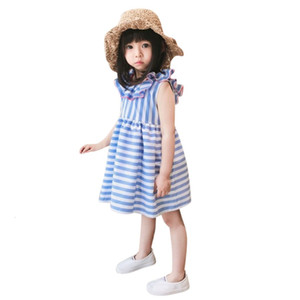 Excelent Clearance New summer babys Dress Toddler Kids Baby Girls Fly Sleeve Ruffles Stripe Ribbons Bow Summer Dresses Z0207